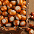 Hazelnuts in basket — Stock Photo #56115893