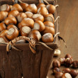 Hazelnuts in basket — Stock Photo #57123137