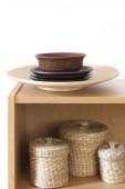 Shelf with decorative elements — Stock Photo