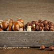 Hazelnuts in wooden box — Stock Photo #58334945
