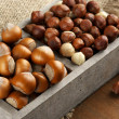 Hazelnuts in wooden box — Stock Photo #59140855