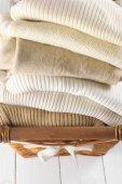 Sweaters in basket — Foto Stock