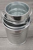 Galvanized buckets — Stock Photo