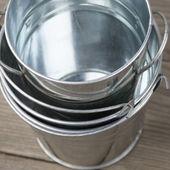 Galvanized buckets — Стоковое фото