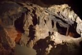 Speleothems in karst cave — Stock Photo