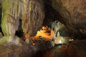 Speleothems in karst cave — Stock Photo