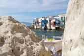 Panoramic view of little Venice on Mykonos Island, Greece — Stock Photo