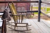 Traditional farm chair at balcony — Stock Photo