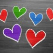 Color chalk heart shapes — Stock Photo #52684367