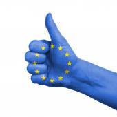 European union concept - hand thumbs up with eu flag — Stock Photo