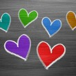 Color chalk heart shapes — Stock Photo #53639993