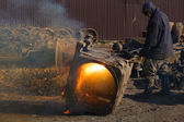 Scrap metal gas welding for refining — ストック写真