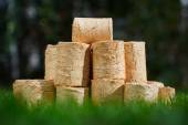 Wooden pellets on green grass background — Stock Photo