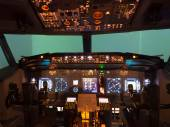 Inside of homemade flight simulator cockpit — Stockfoto