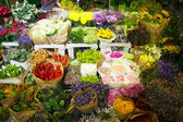 Multitude of color flowers at the wholesale market — Stock Photo