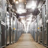 Electric boxes corridor of industrial building — Stock Photo