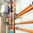 Copper pipes engineering in boiler-room — Stock Photo #67020753