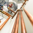 Copper pipes engineering in boiler-room — Stock Photo #67020801