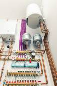 Independent heating system in boiler-house — Stock Photo