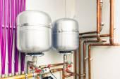 Expansion tanks in boiler-room — Stock Photo