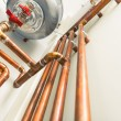 Copper pipes engineering in boiler-room — Stock Photo #67890663
