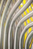 Corrugation metal pipes abstract background — Stock Photo