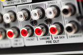 RCA sockets of audio surround receiver amplifier — Stock Photo