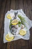 Frischer Fisch mit Zitronen-Kräuter und Gewürze, Kochen — Stockfoto