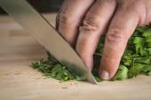 Chef chopping parsley leaves — Foto de Stock