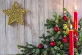 Cartão de natal com velas — Foto Stock