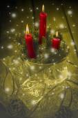 Christmas greeting card with candles — Stock Photo