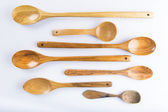 Wooden spoons set isolated on white background — Stock Photo