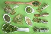 Green spices on a green background — Stock Photo