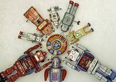 Robots around mother ship — Stockfoto