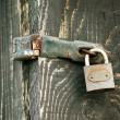 Old Wooden door locked with rusty padlock — Stock Photo #72826617