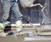 Smooth concreting the floor — Stock Photo