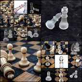 Chess pieces, collage — Stock Photo