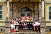 RESEN, MACEDONIA - NOVEMBER 25:Members of folk group Tashe Miloshevski , posing in yard of a well known building Saray in Macedonia.Resen , Macedonia on november 25, 2013 — Stock Photo