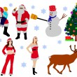 Collection of christmas vector silhouettes — Stock Vector #68134187