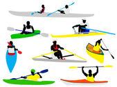 Canoe and kayak rowers — Stock Vector