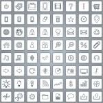 Large set of white elegant lineart web icons — Stock Vector #55457635