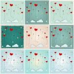 Cute heartshaped balloons illustrations — Stock Vector #55457587