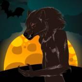 Halloween illustration with werewolf and full Moon — Stock Vector