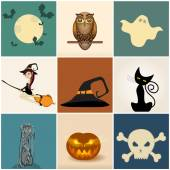 набор милый хэллоуин иллюстраций — Cтоковый вектор