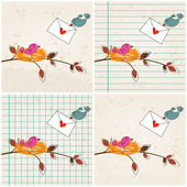 Cute birds in love illustrations — Vetorial Stock