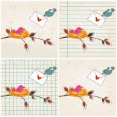 Cute birds in love illustrations — 图库矢量图片