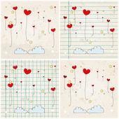 Cute heartshaped balloons — Stock Vector