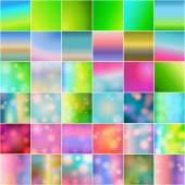 Set of 36 beautiful glittering soft focus backgrounds — Stock vektor
