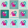 Cute couple in love illustrations — Stock Vector #64531143