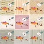 Cute birds in love illustrations — Stock Vector #64531311